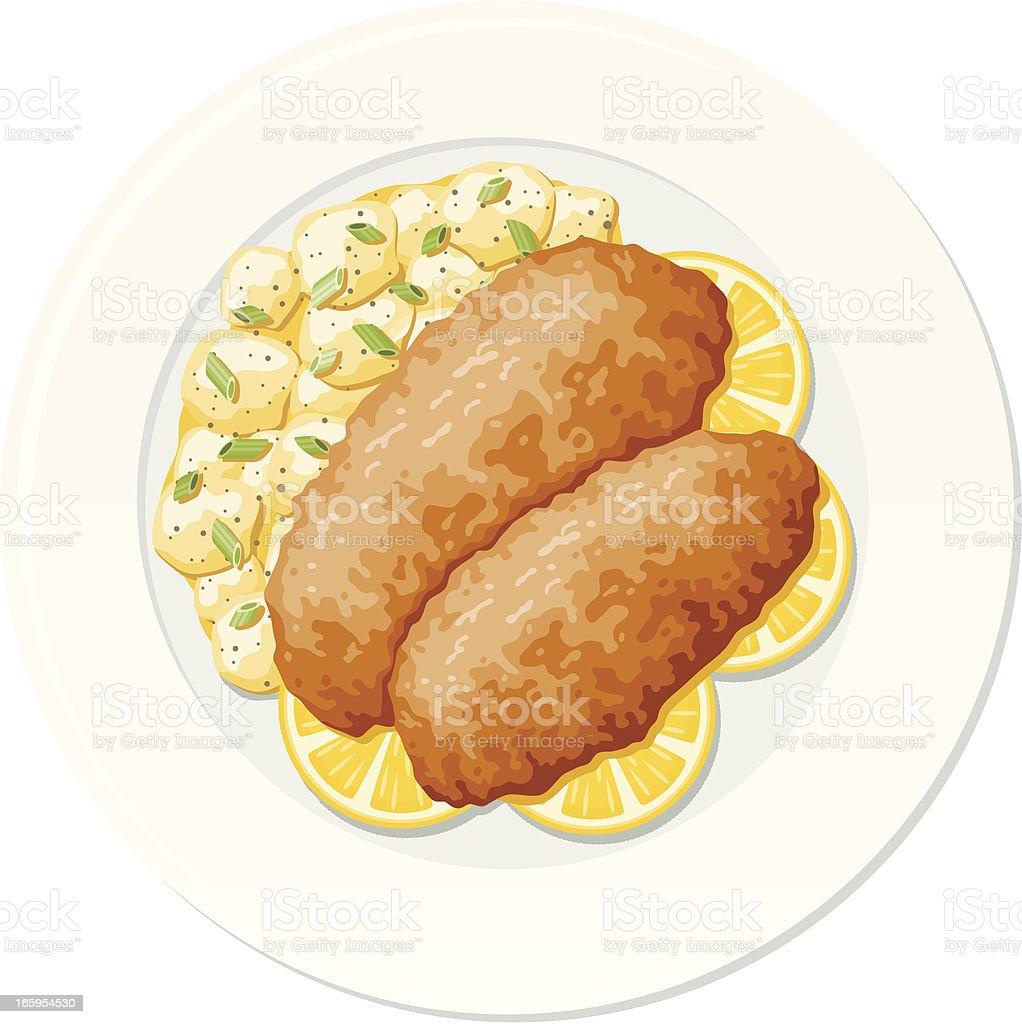 Viennese Wiener Schnitzel vector art illustration