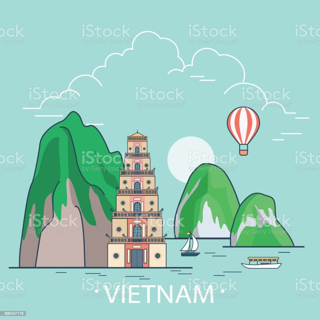 Vietnam country design template. Linear Flat famous historic sight; cartoon style web site vector illustration. World travel and showplace in Asia, Asian vacation collection. vector art illustration