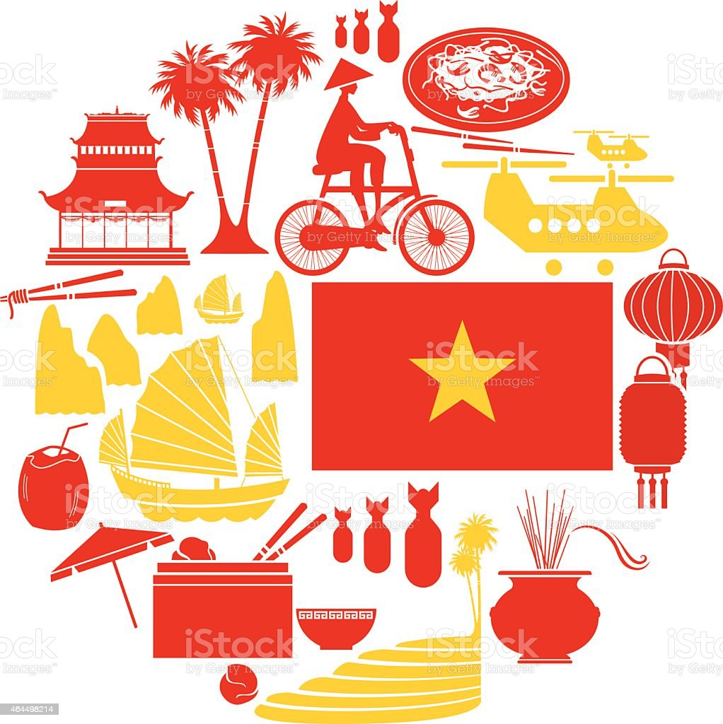 Vietnam Icon set vector art illustration