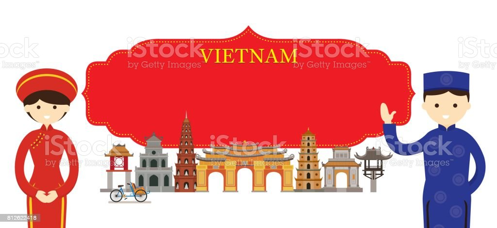 Vietnam Landmarks and people in Traditional Clothing vector art illustration
