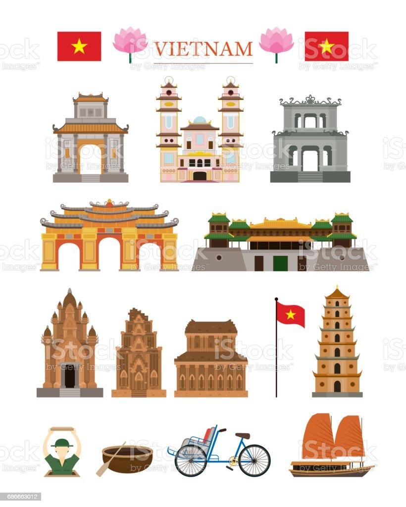 Vietnam Landmarks Architecture Building Object Set vector art illustration