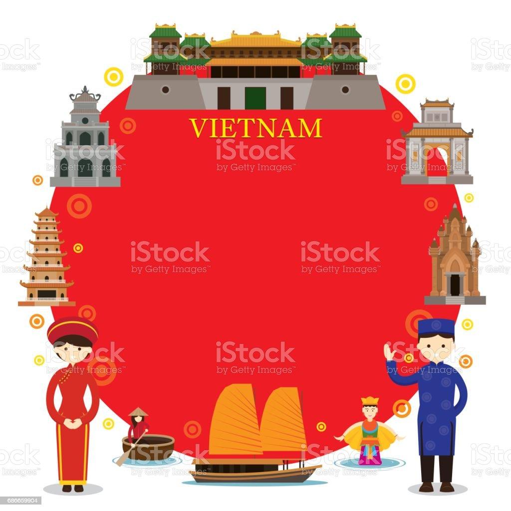 Vietnam Landmarks, People in Traditional Clothing, Frame vector art illustration