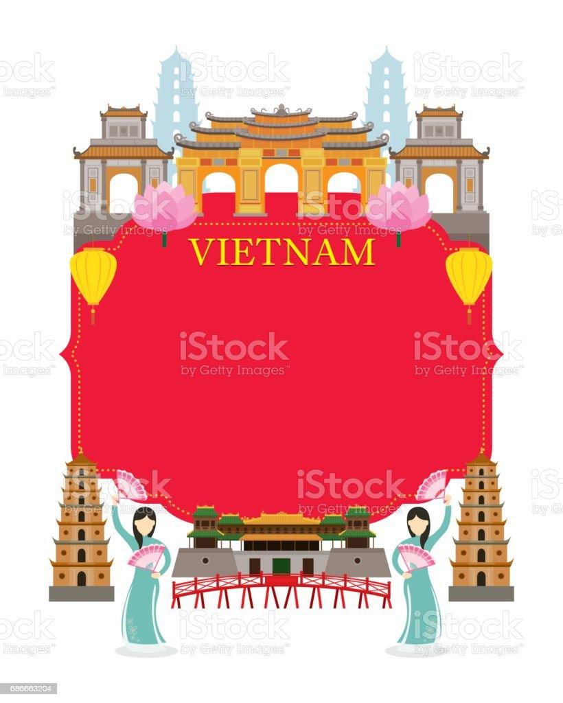 Vietnam Landmarks, Traditional Dance, Frame vector art illustration