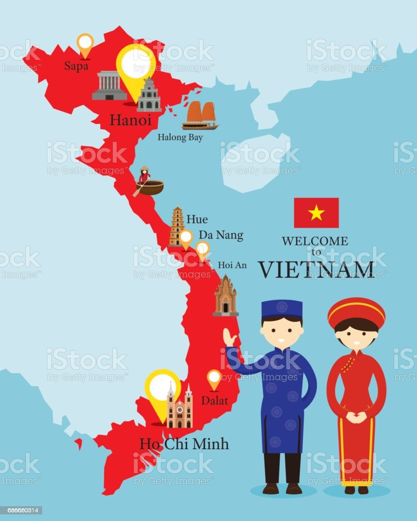 Vietnam Map and Landmarks with People in Traditional Clothing vector art illustration