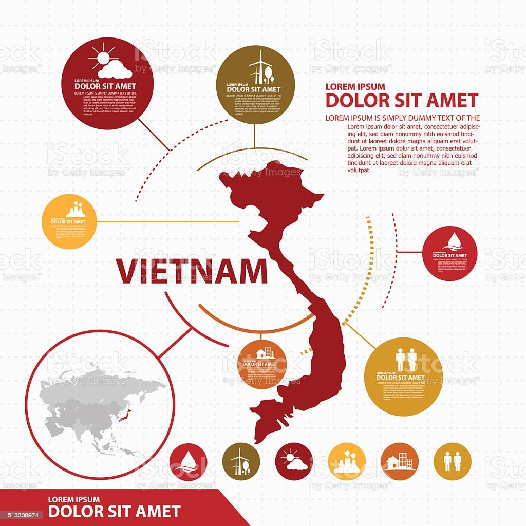 vietnam map infographic vector art illustration