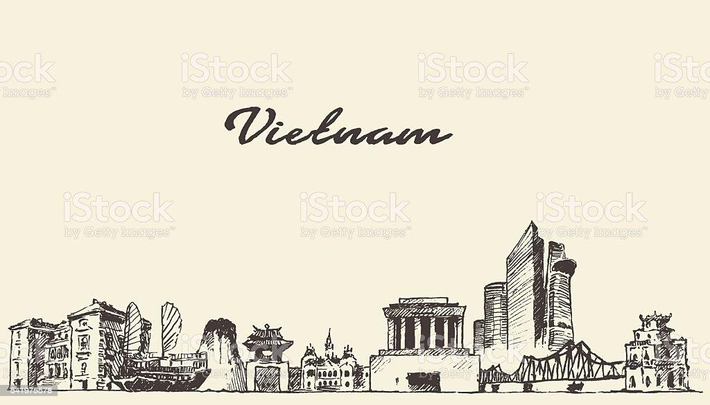 Vietnam skyline vector illustration drawn sketch vector art illustration