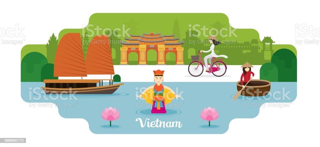 Vietnam Travel and Attraction vector art illustration