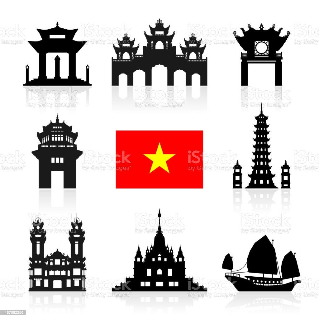 Vietnam Travel Landmarks. vector art illustration