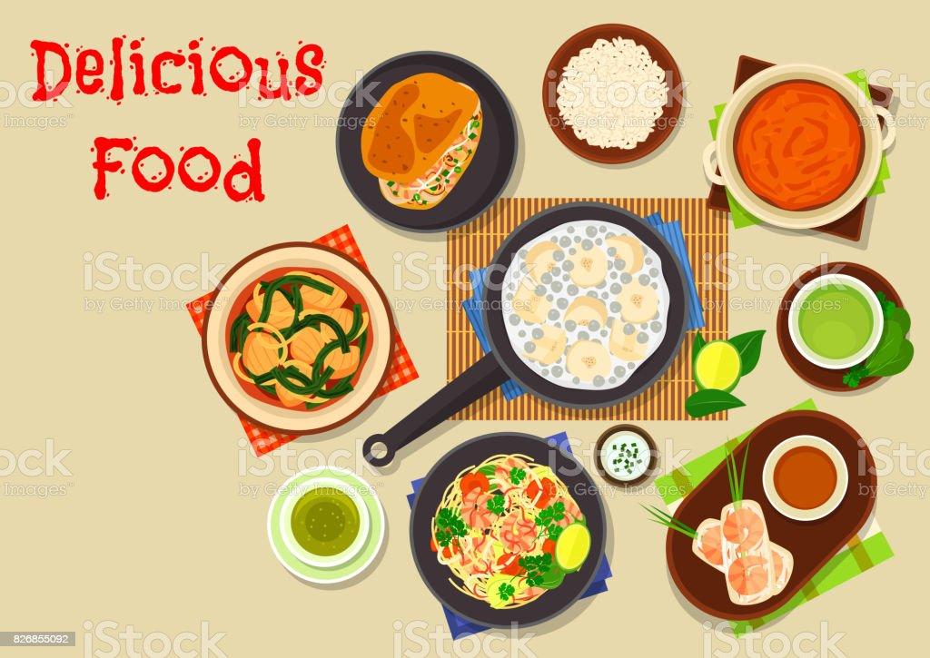 Vietnamese cuisine icon for asian food design vector art illustration