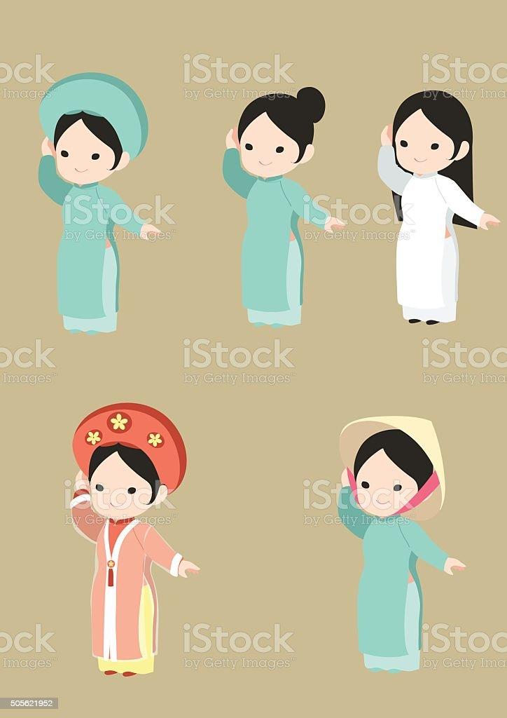 Vietnamese long dress vector. Ao dai Viet Nam vector art illustration