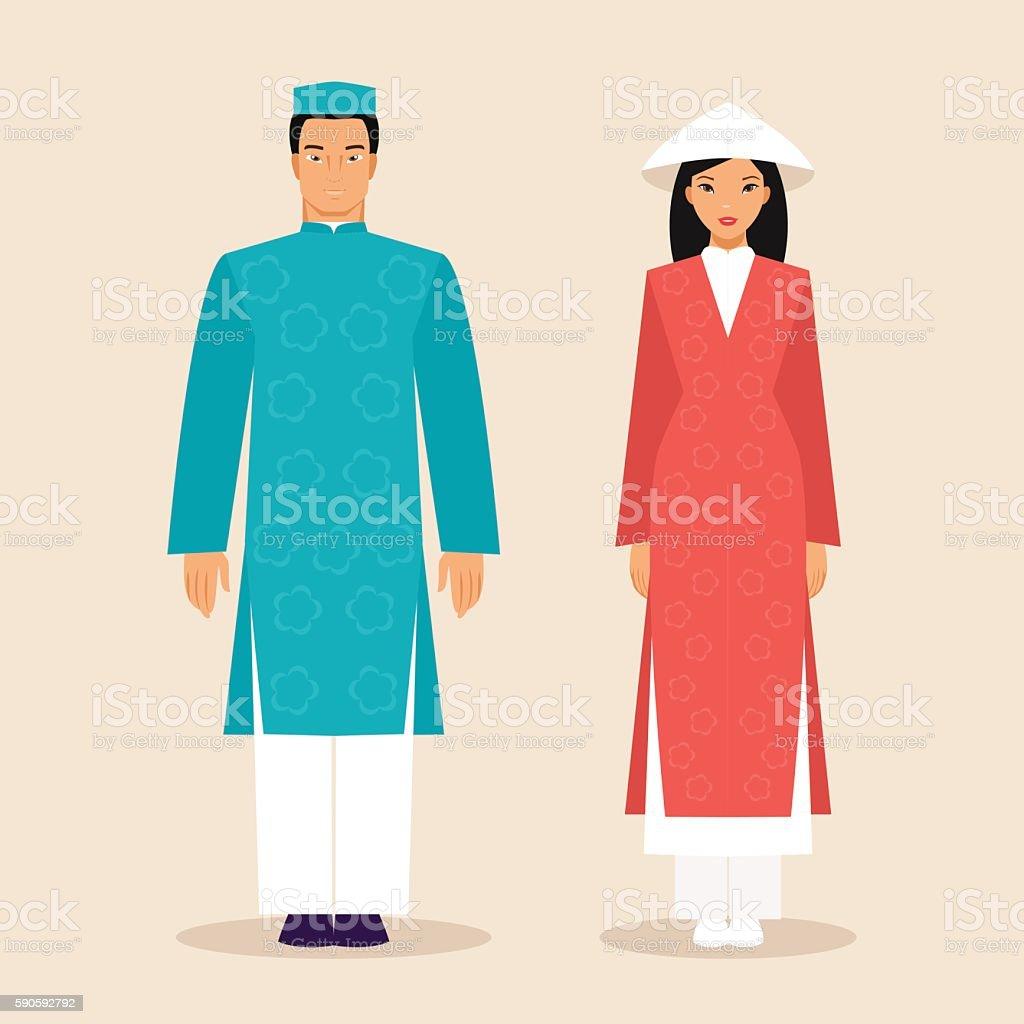 Vietnamese man and a woman vector art illustration