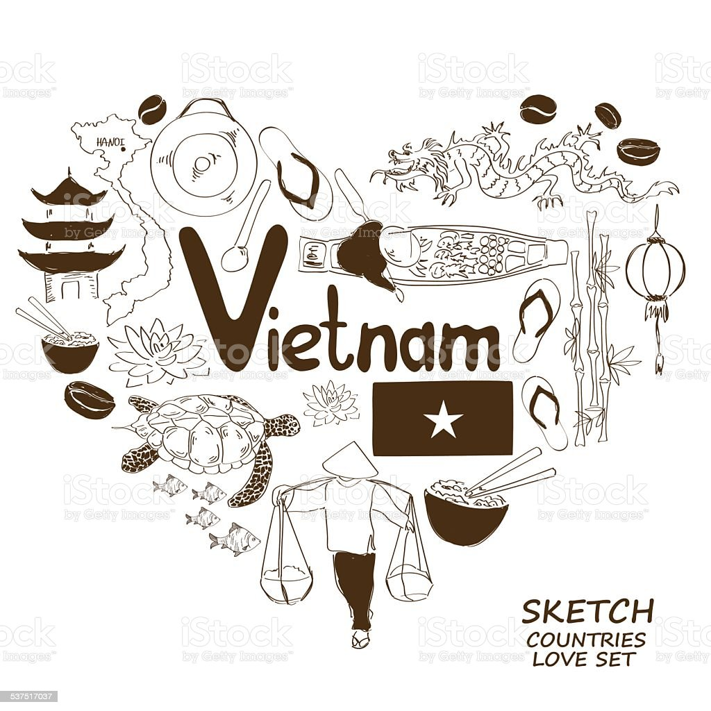 Vietnamese symbols in heart shape concept vector art illustration