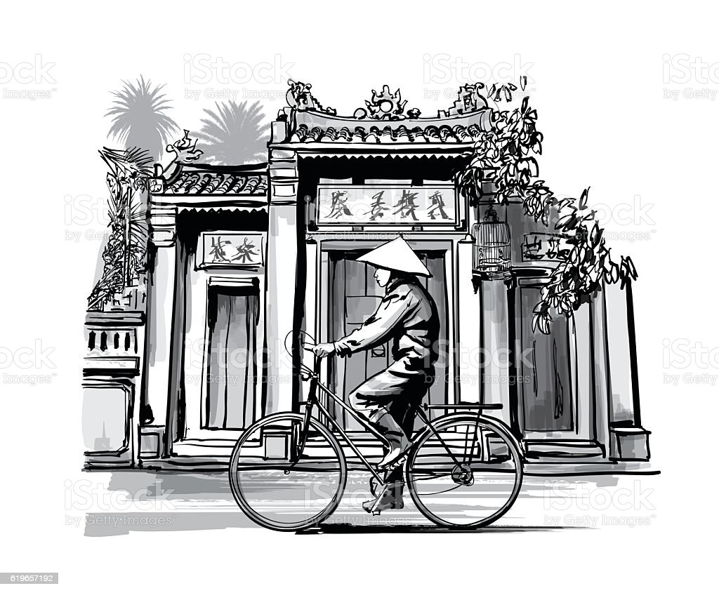 Vietnamese with conical hat on bicycle vector art illustration