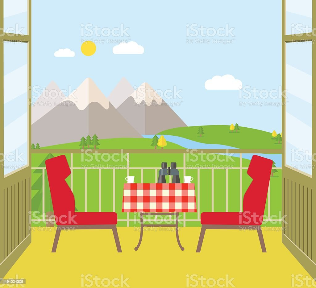 View from the balcony of the mountains. Vector flat illustration vector art illustration