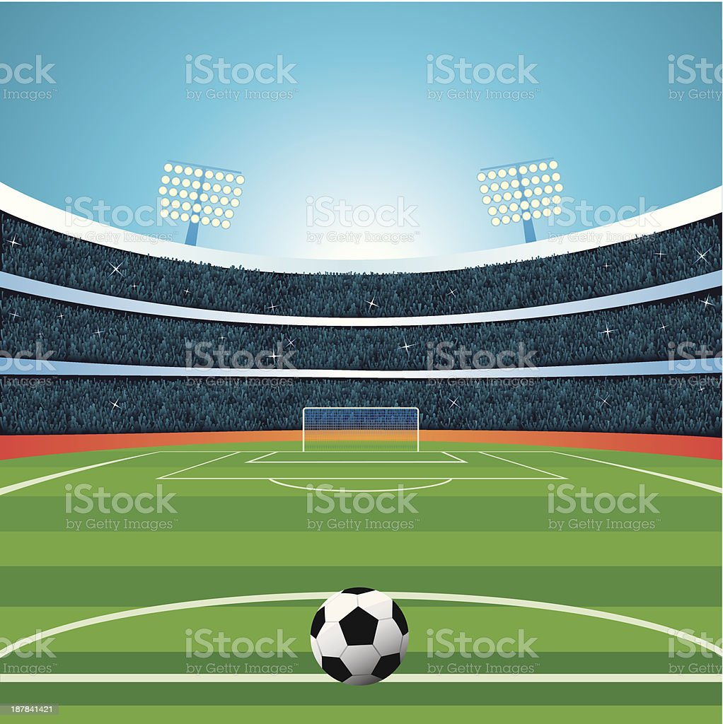 View from the field in a vector soccer stadium vector art illustration