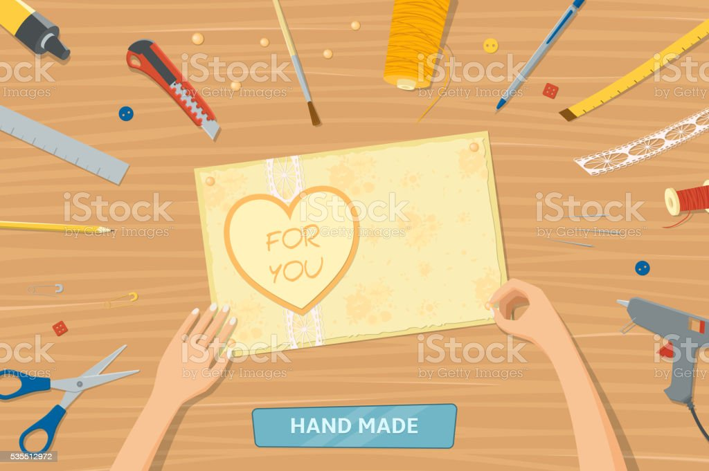 View from top of table with instruments for hand made royalty-free stock vector art