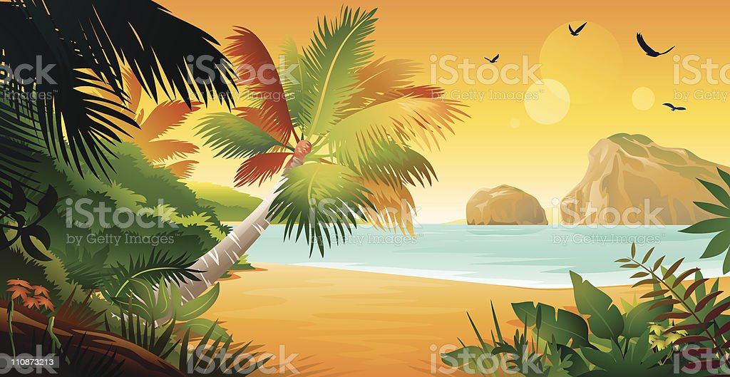 View from Tropical Island vector art illustration
