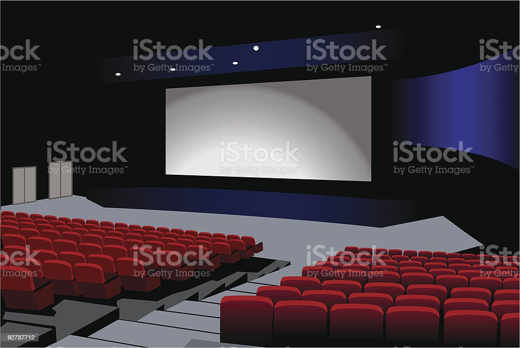 View of a movie theater's interior royalty-free stock vector art