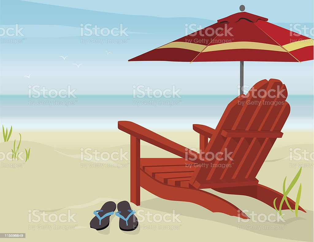 View of Beach vector art illustration