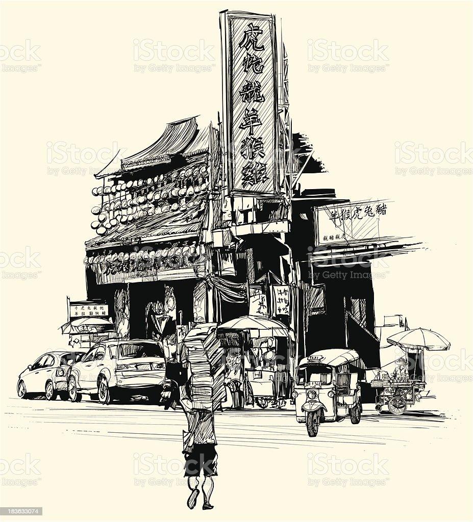 view of chinatown in Bangkok vector art illustration