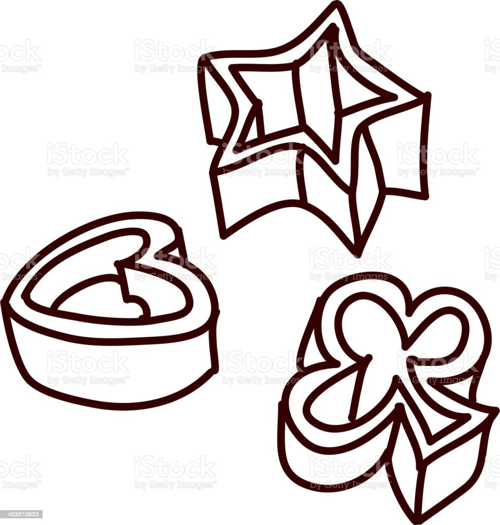 view of cookie cutters vector art illustration