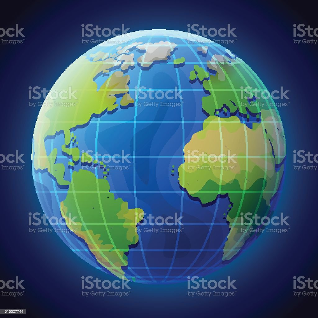 View of globe from space vector art illustration