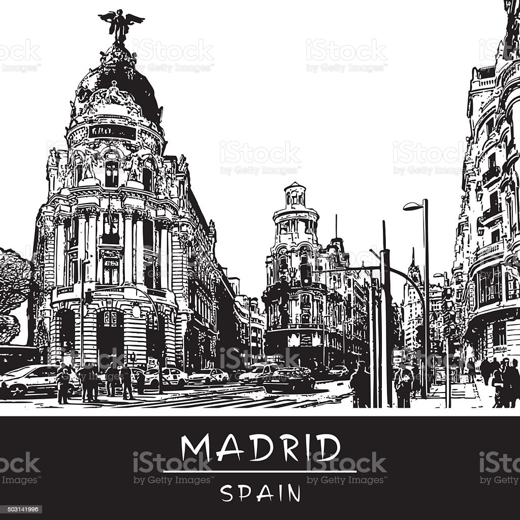 View of Gran Via shopping street in Madrid, Spain. vector art illustration