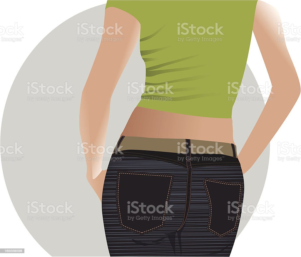 view of sexy girl's back vector art illustration