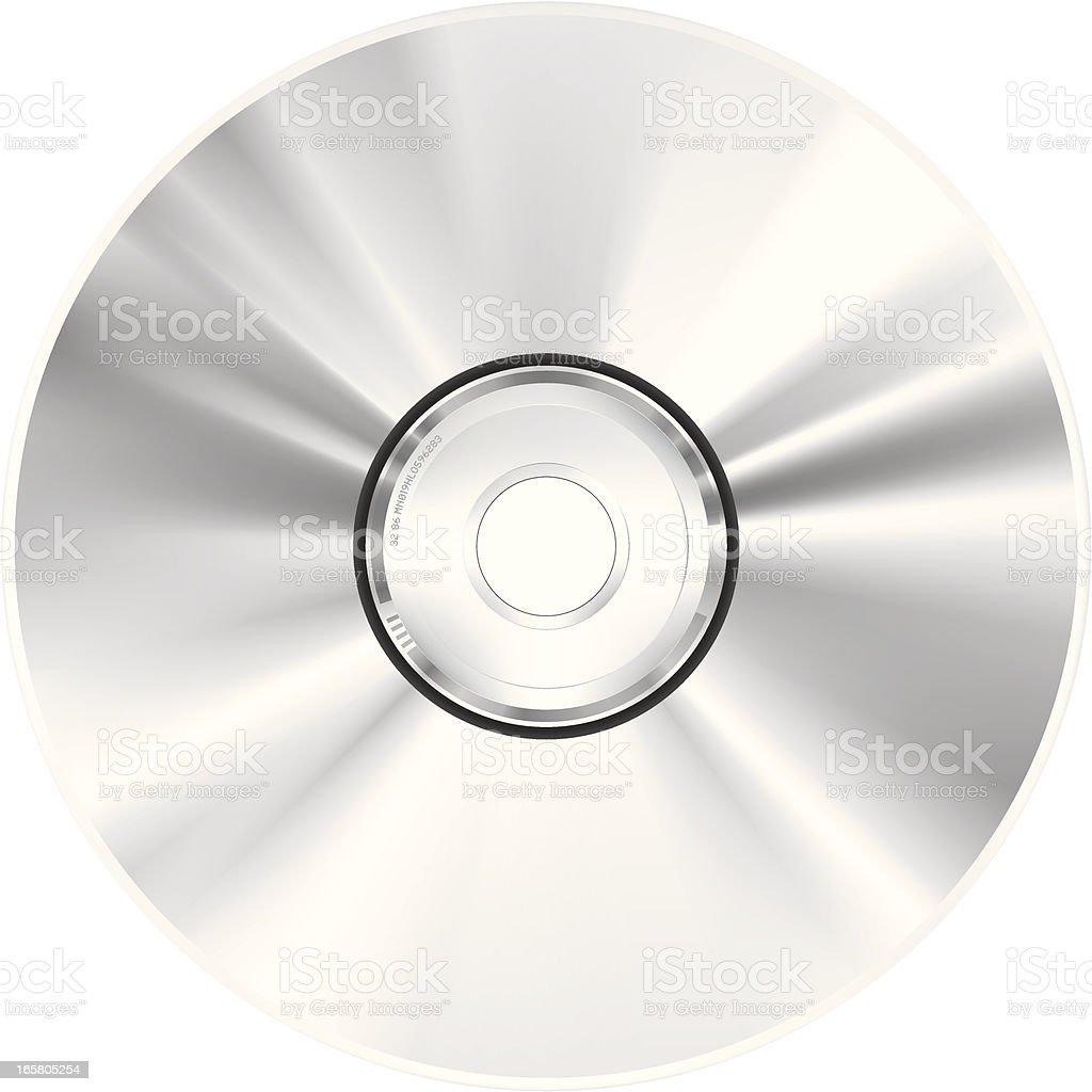 View of single CD-ROM disc, on white background  vector art illustration