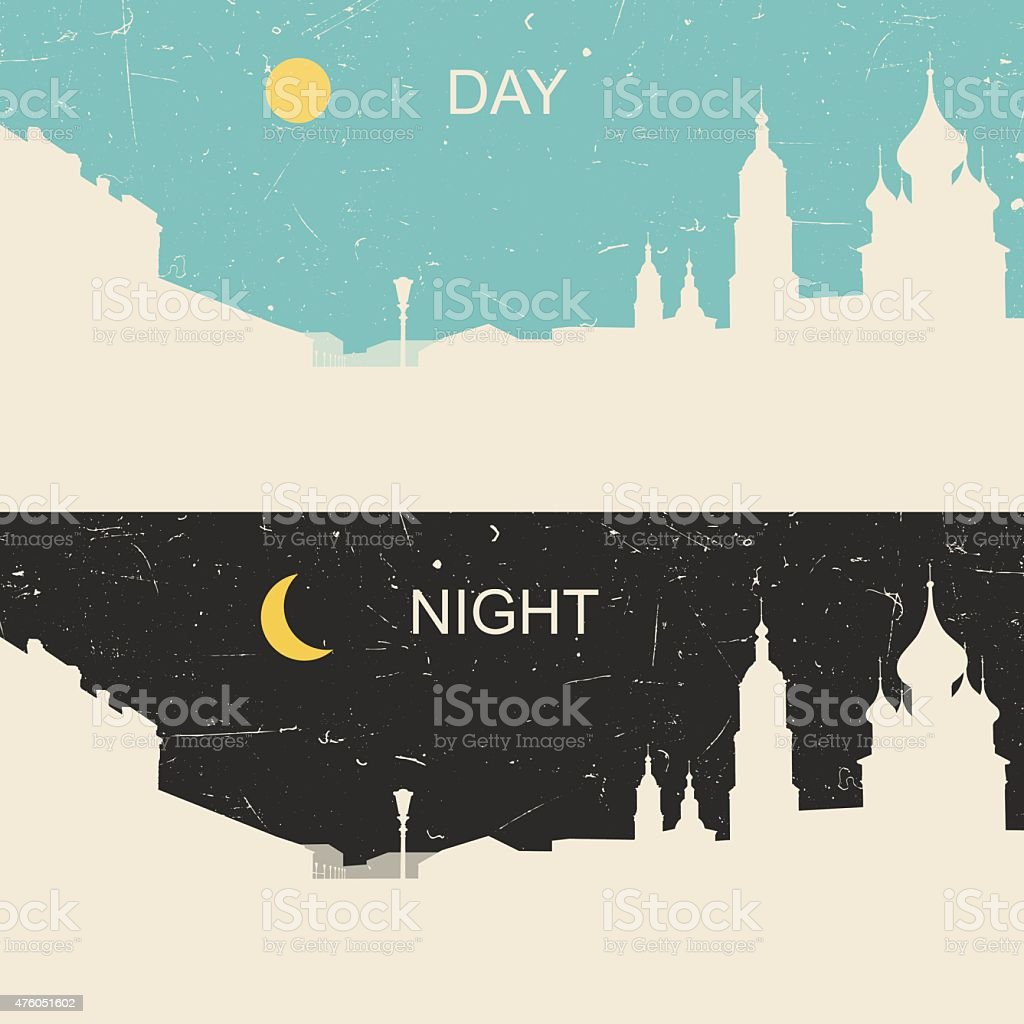 View of the heritage Russian city day and night vector art illustration