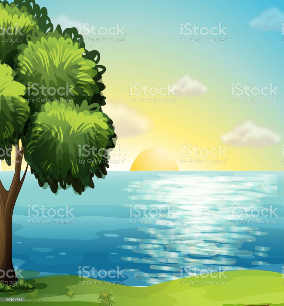 View of the ocean vector art illustration