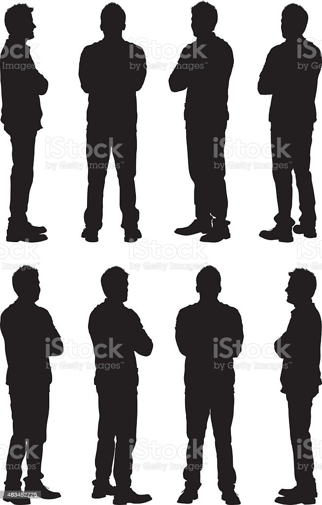 Views of casual man silhouettes vector art illustration