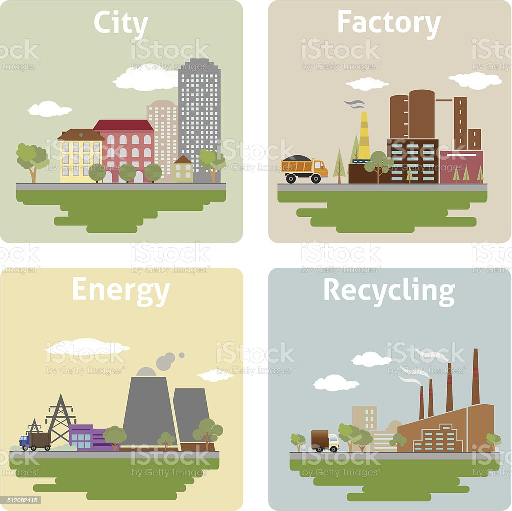 Views of the city vector art illustration