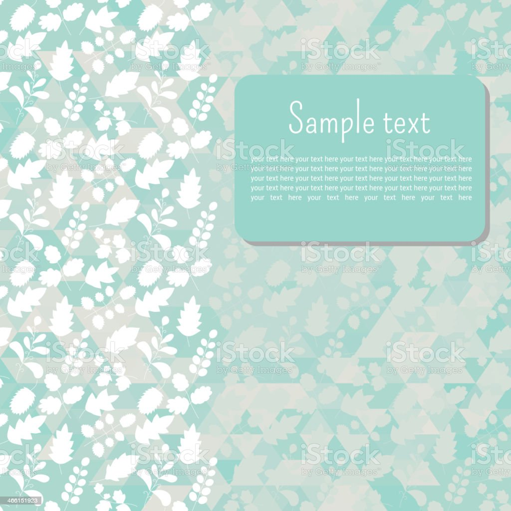 vignette or a postcard for text with leaves  turquoise tone vector art illustration