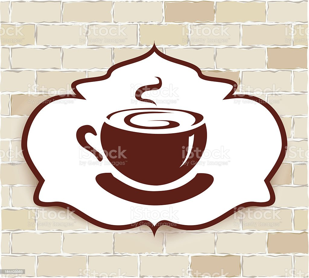 vignette with a cup of coffee on brick wall vector art illustration