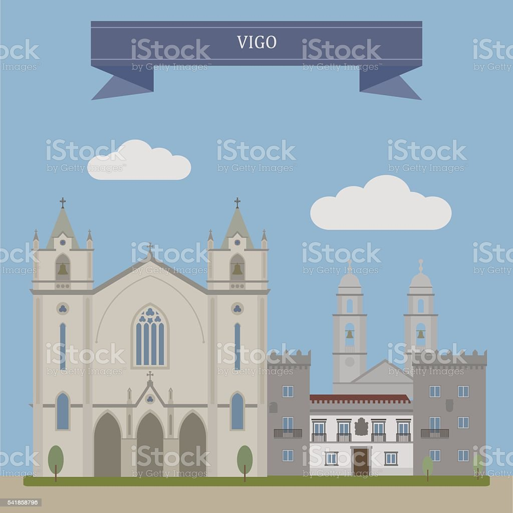 Vigo, city in Spain vector art illustration