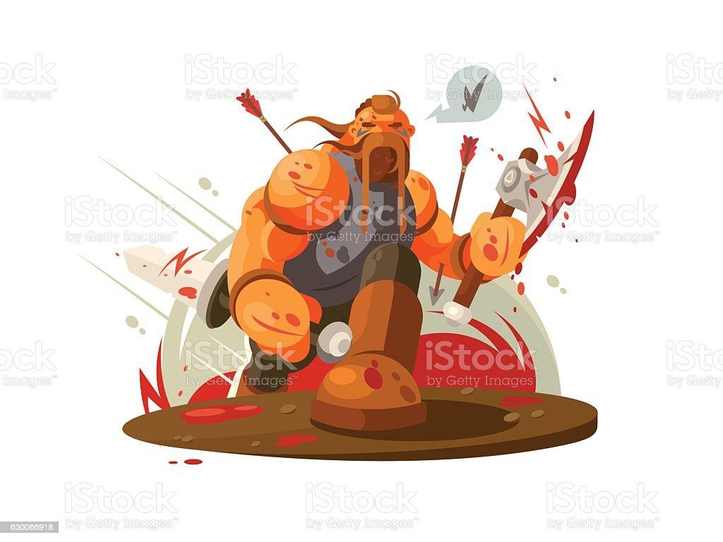 Viking battle with ax vector art illustration