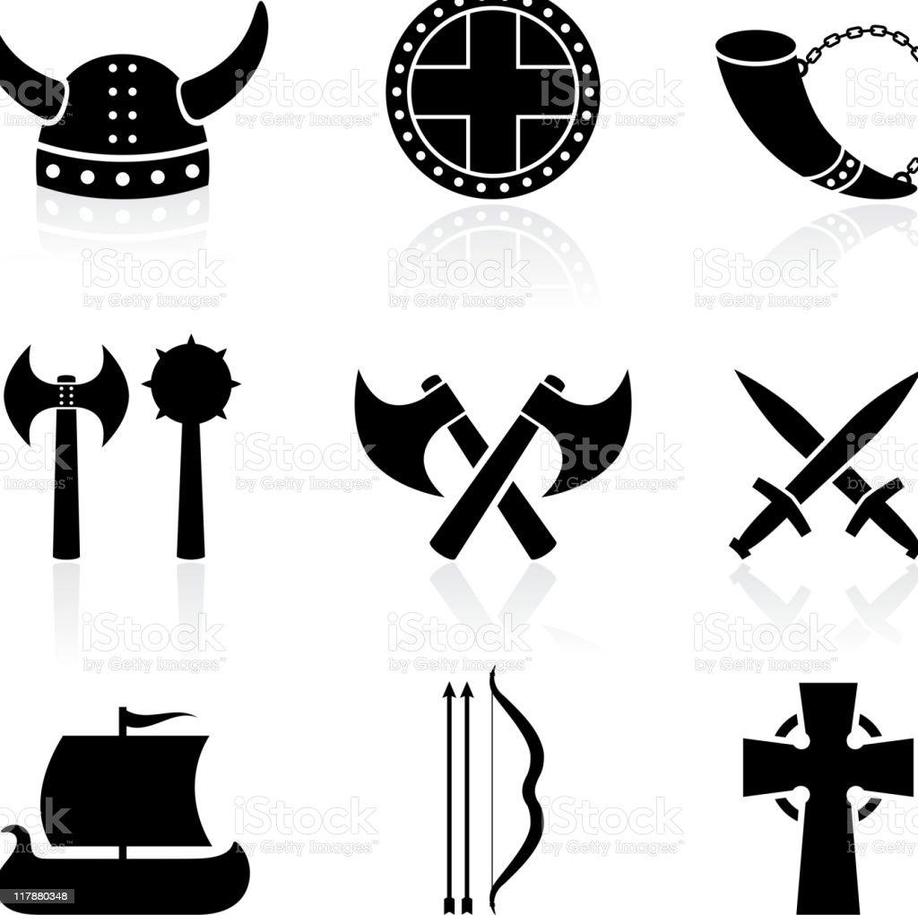 viking black and white royalty free vector icon set vector art illustration