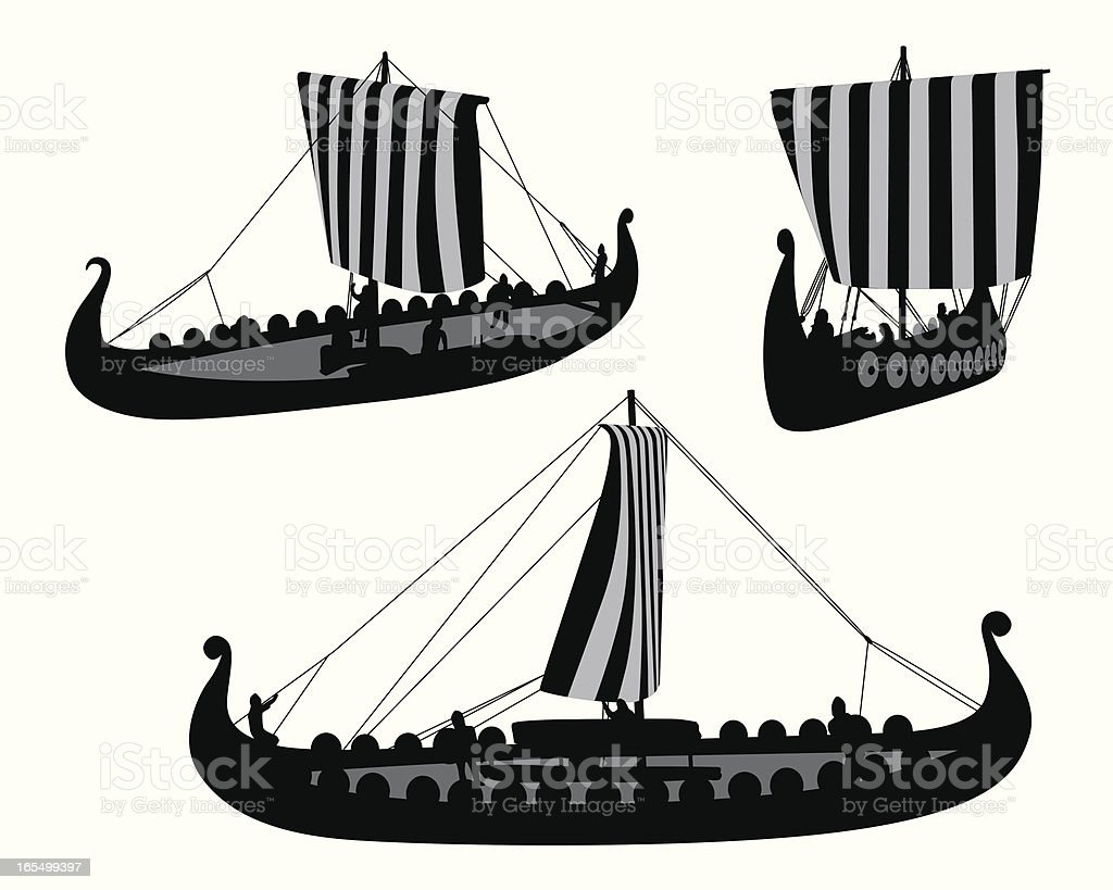 Viking Boat Vector Silhouette royalty-free stock vector art