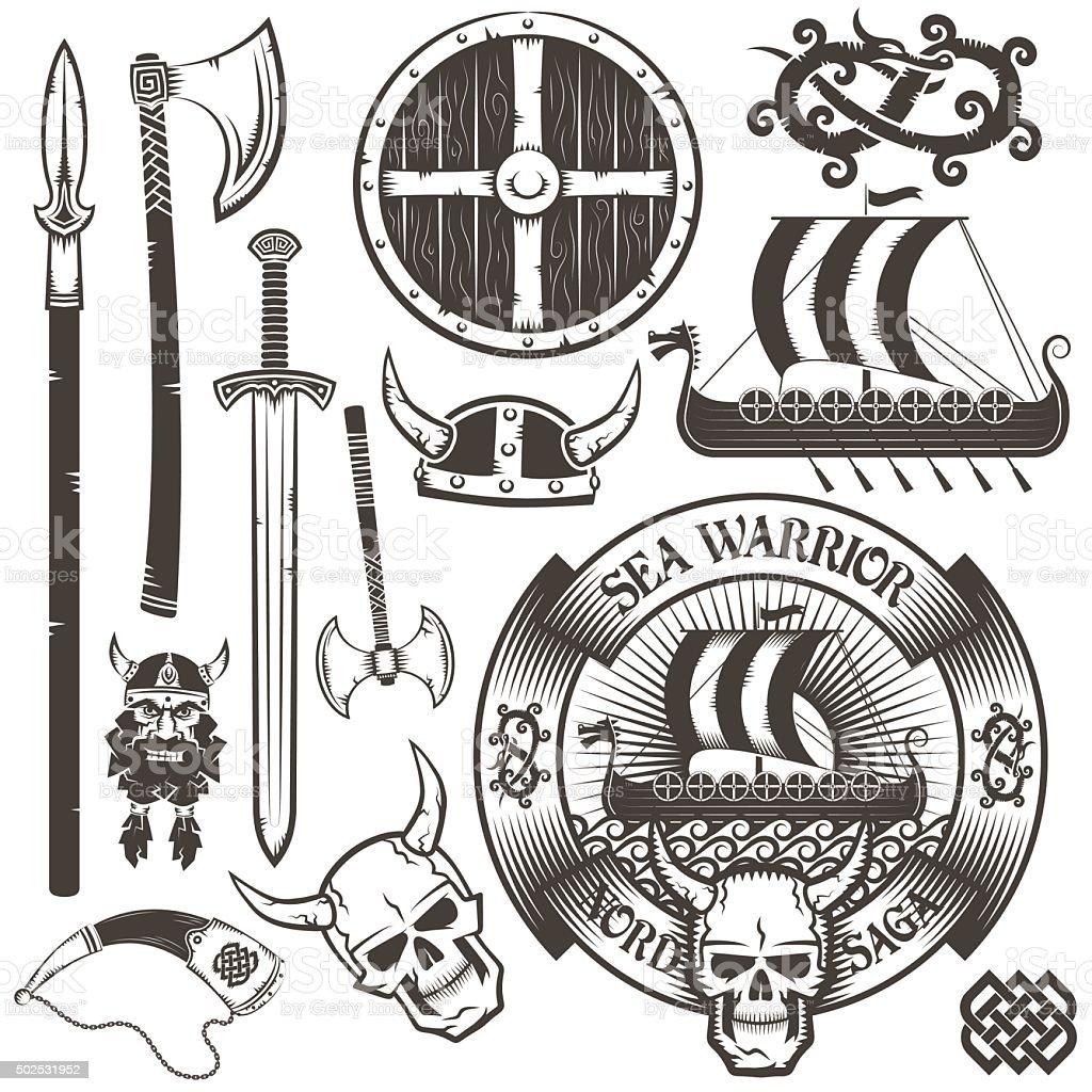 Viking emblem vector art illustration
