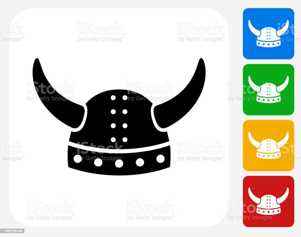 Viking Helmet Icon Flat Graphic Design vector art illustration