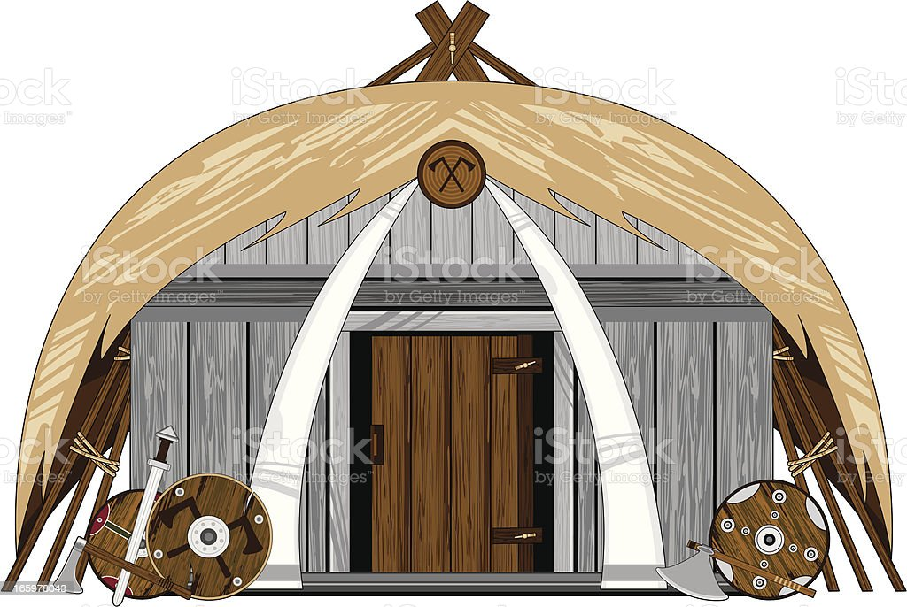 Viking House with Thatched Roof royalty-free stock vector art