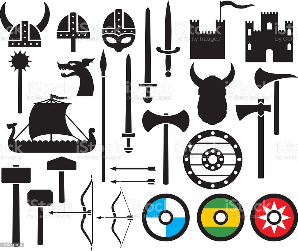 viking icons collection (sword, round wooden shield) vector art illustration