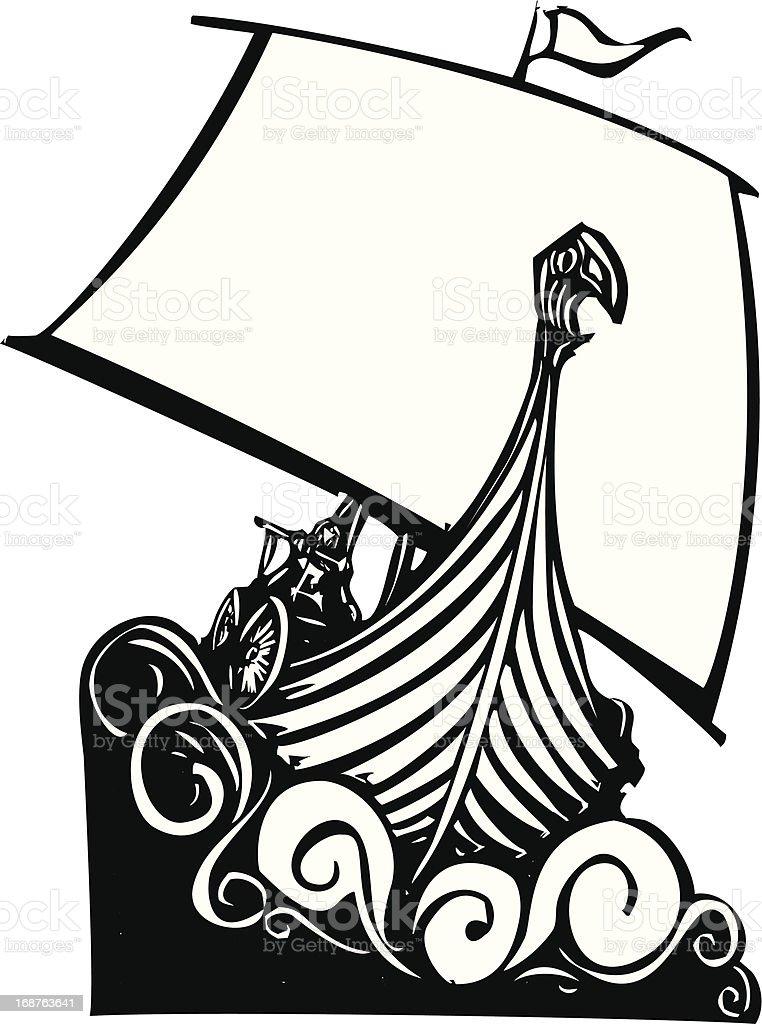 Viking Longship Sailing B vector art illustration