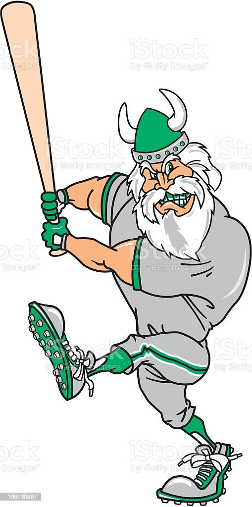 Viking Playing Baseball royalty-free stock vector art