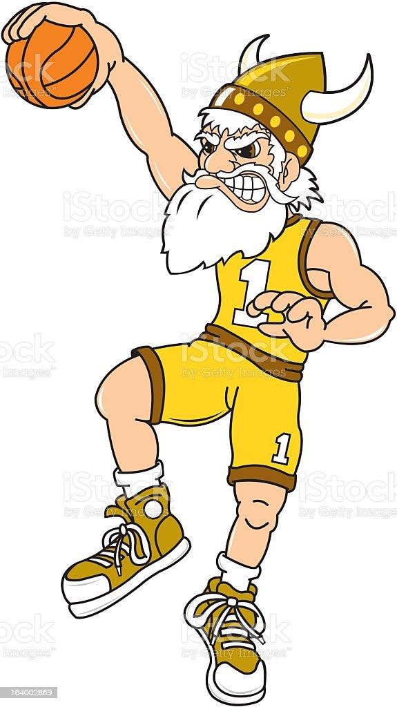 Viking Playing Basketball royalty-free stock vector art