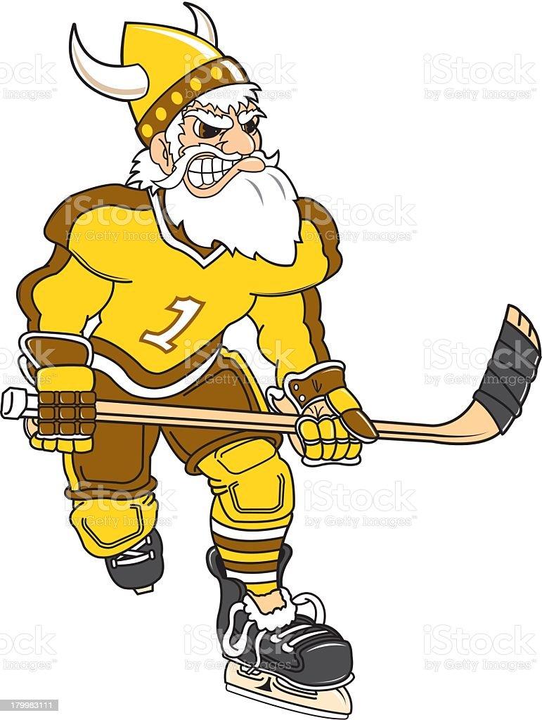 Viking Playing Ice Hockey royalty-free stock vector art