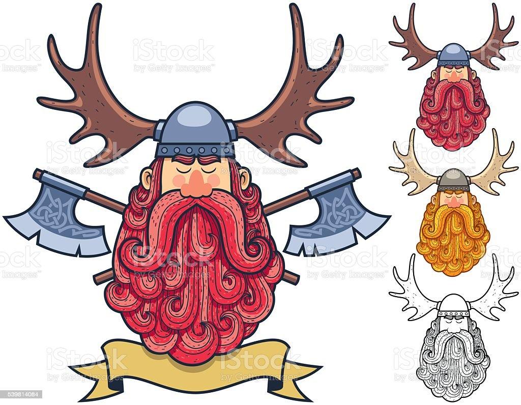 Viking Portrait 2 vector art illustration