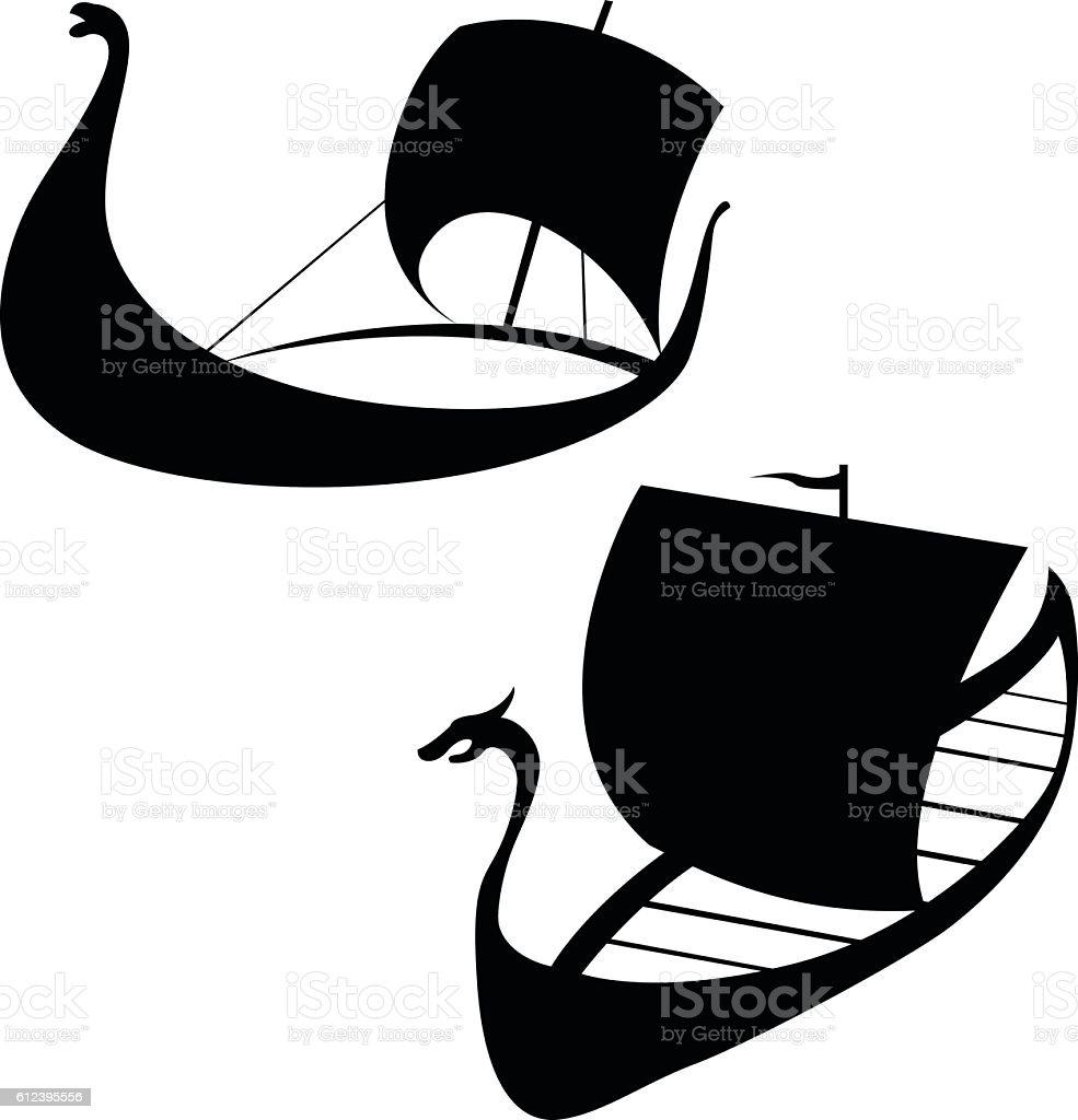 Viking ship icon. Longship. Isolated on white. vector art illustration