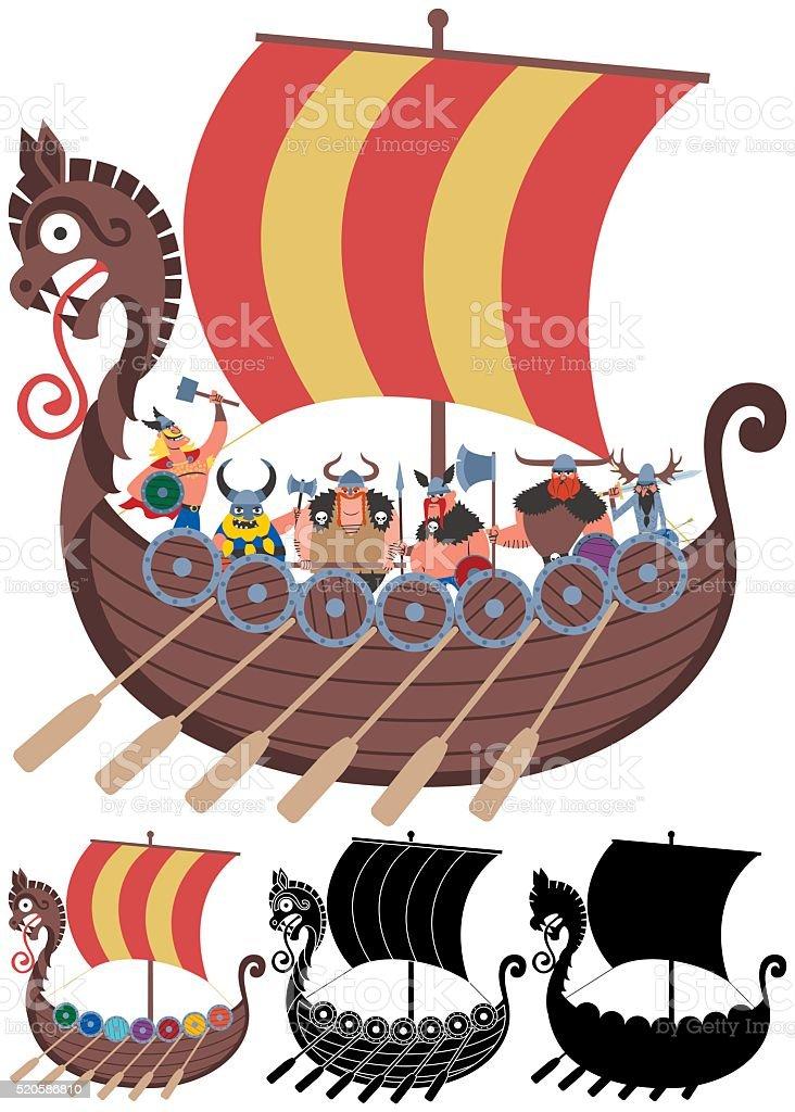 Viking Ship on White vector art illustration
